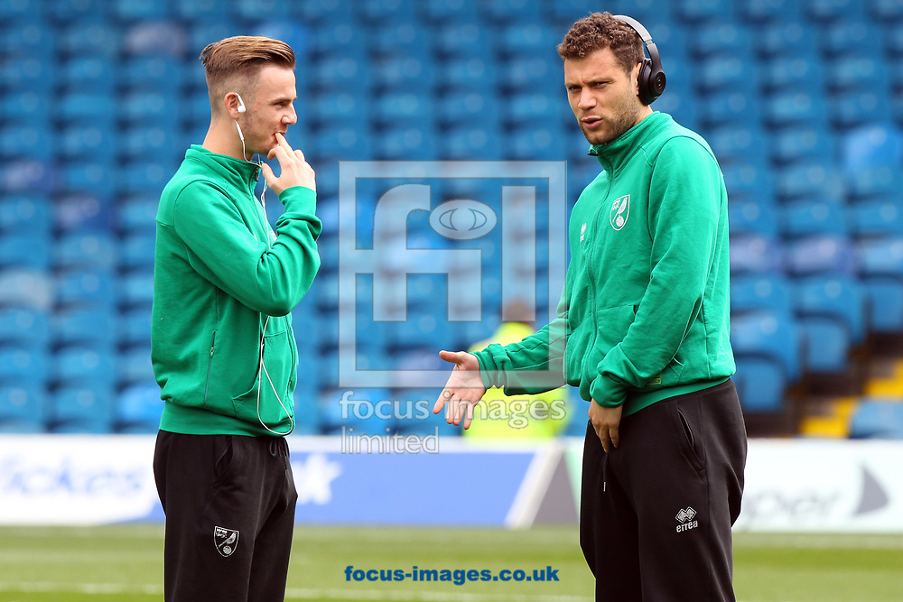 James Maddison of Norwich and Yanic Wildschut of Norwich before the Sky Bet Championship match at Elland Road, Leeds<br /> Picture by Paul Chesterton/Focus Images Ltd +44 7904 640267<br /> 29/04/2017