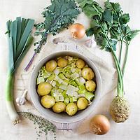 Sara's vegan potato, leek, celery root soup ingredients shot.