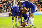 Kenedy celebrates his goal during the Capital One Cup match between Walsall and Chelsea at the Banks's Stadium, Walsall, England on 23 September 2015. Photo by Alan Franklin.