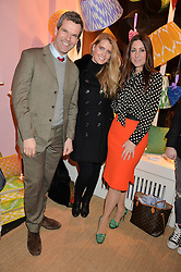 Left to right, BEN PENTREATH, LADY KITTY SPENCER and MELINA HORNE at a party hosted by Melodi Horne & Pentreath & Hall at 17 Rugby Street, Bloomsbury, London on 12th February 2015.