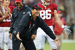 October 23, 2010; Stanford, CA, USA;  Stanford Cardinal head coach Jim Harbaugh celebrates on the sidelines after a touchdown against the Washington State Cougars during the third quarter at Stanford Stadium.  Stanford defeated Washington State 38-28.