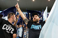 SYDNEY, AUSTRALIA - APRIL 06: A Sydney FC fan sings at round 24 of the Hyundai A-League Soccer between Sydney FC and Melbourne Victory on April 06, 2019, at The Sydney Cricket Ground in Sydney, Australia. (Photo by Speed Media/Icon Sportswire)