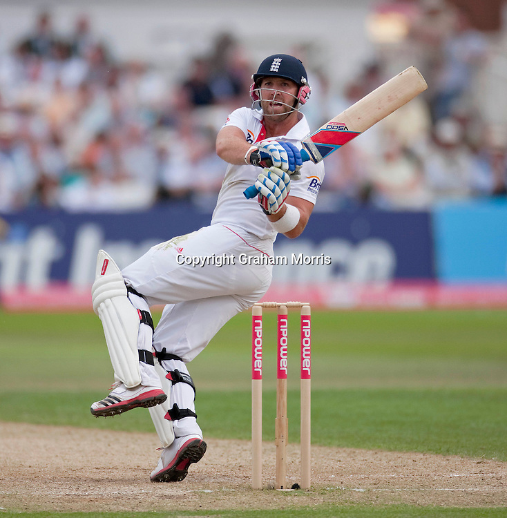 Matt Prior hits another boundary during the second npower Test Match between England and India at Trent Bridge, Nottingham.  Photo: Graham Morris (Tel: +44(0)20 8969 4192 Email: sales@cricketpix.com) 31/07/11