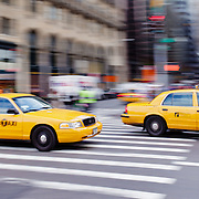 Yellow cabs on Fifth avenue.
