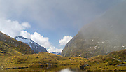 View, looking southeast from MacKinnon Pass, along the Milford Track, Fiordland National Park, New Zealand