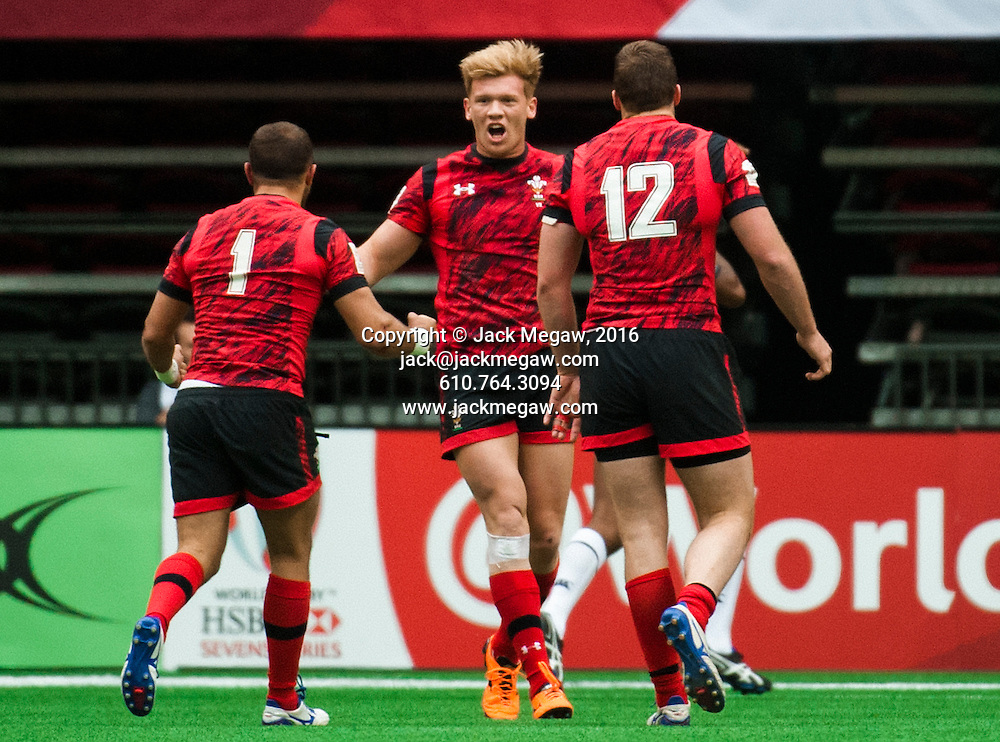 Sam Cross of Wales celebrates after beating Canada after the horn during the pool stages of the 2016 Canada Sevens leg of the HSBC Sevens World Series Series at BC Place in  Vancouver, British Columbia. Saturday March 12, 2016.<br /> <br /> Jack Megaw<br /> <br /> www.jackmegaw.com<br /> <br /> 610.764.3094<br /> jack@jackmegaw.com