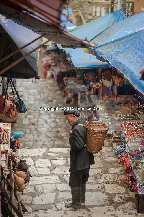 A hilltribe man in the markets in Sapa, Vietnam.