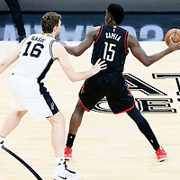 01 May 2017: San Antonio Spurs center Pau Gasol (16) defends on Houston Rockets center Clint Capela (15) during the Houston Rockets 126-99 victory over the San Antonio Spurs, in game 1 of the Western Conference Semi Finals, at the AT&T Center, San Antonio, Texas, USA.