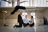 DanceVote 2010 is the national advocacy campaign of a collection of Dance and Arts organizations that has come together to put dance on the agenda of the UK's future MPs. In the run up to the general election, they are looking for assurances from the main political parties that they will support the dance sector. Photo shows members of the Steering Committee of DanceVote, at the London Contemporary Dance School. Left to Right: Sean Williams (Director, Council for Dance Education and Training), Craig Hassall (CEO of English National Ballet) and Caroline Miller (Director of Dance UK).