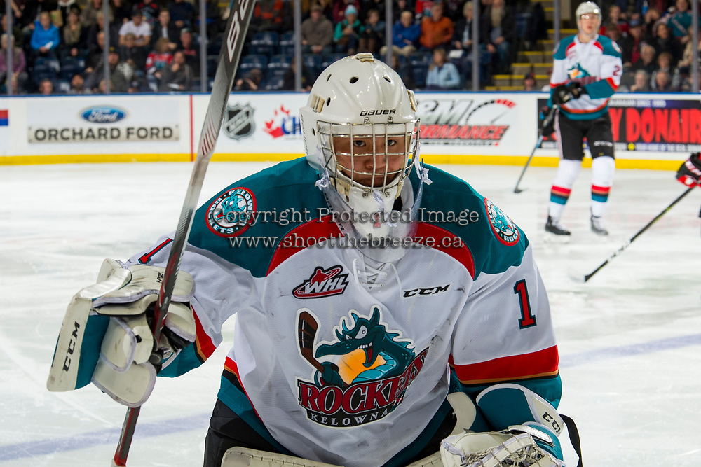 KELOWNA, CANADA - JANUARY 4: James Porter #1 of the Kelowna Rockets skates to the bench for a penalty against the Prince George Cougars  on January 4, 2019 at Prospera Place in Kelowna, British Columbia, Canada.  (Photo by Marissa Baecker/Shoot the Breeze)