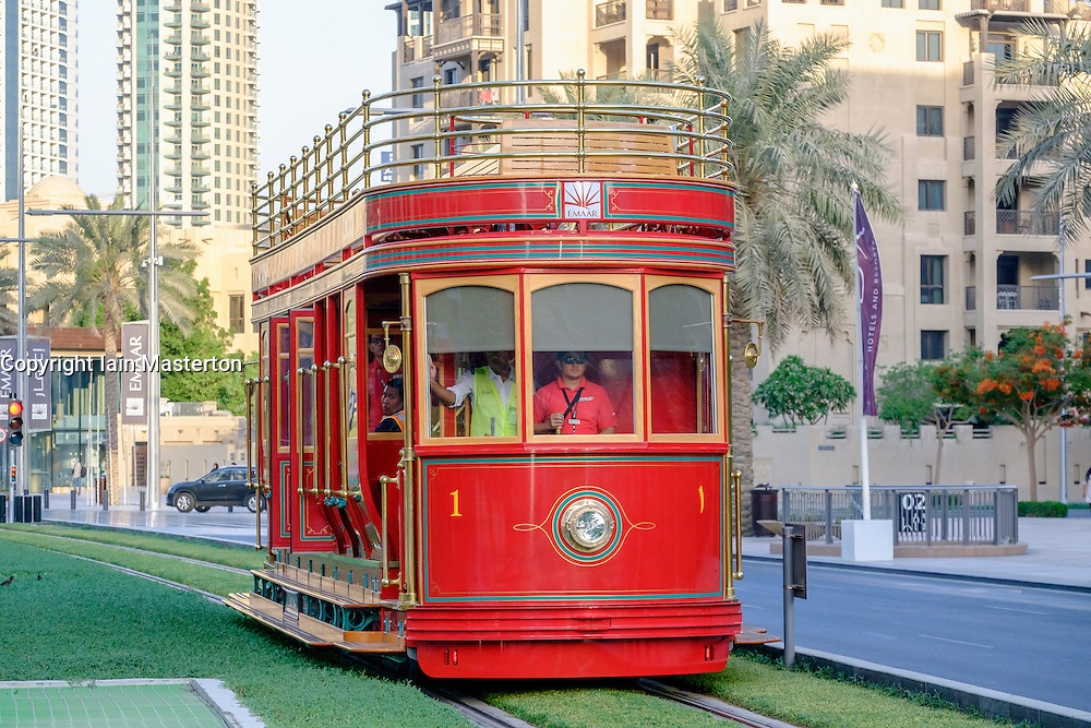 New Dubai Trolley (San Francisco style hydrogen fuel cell powered tourist tram) travelling along street in Dubai United Arab Emirates