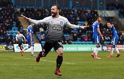 Danny Lloyd of Peterborough United celebrates scoring his goal - Mandatory by-line: Joe Dent/JMP - 10/02/2018 - FOOTBALL - MEMS Priestfield Stadium - Gillingham, England - Gillingham v Peterborough United - Sky Bet League One