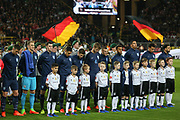 England team line up for national anthem during the International Friendly match between Germany and England at Signal Iduna Park, Dortmund, Germany on 22 March 2017. Photo by Phil Duncan.