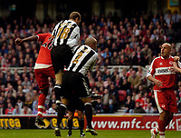 Photo: Jed Wee.<br /> Middlesbrough v Newcastle United. The Barclays Premiership. 22/10/2006.<br /> <br /> Middlesbrough's Yakubu (L, obscured) scores the winning goal.