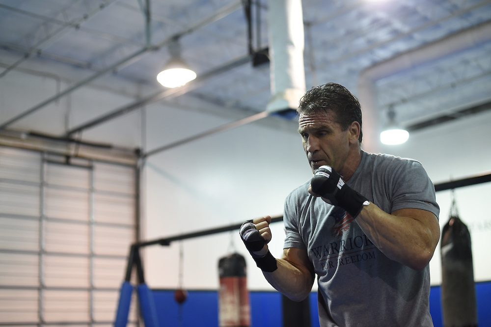 Ken Shamrock trains in Dallas, Texas on February 4, 2016.