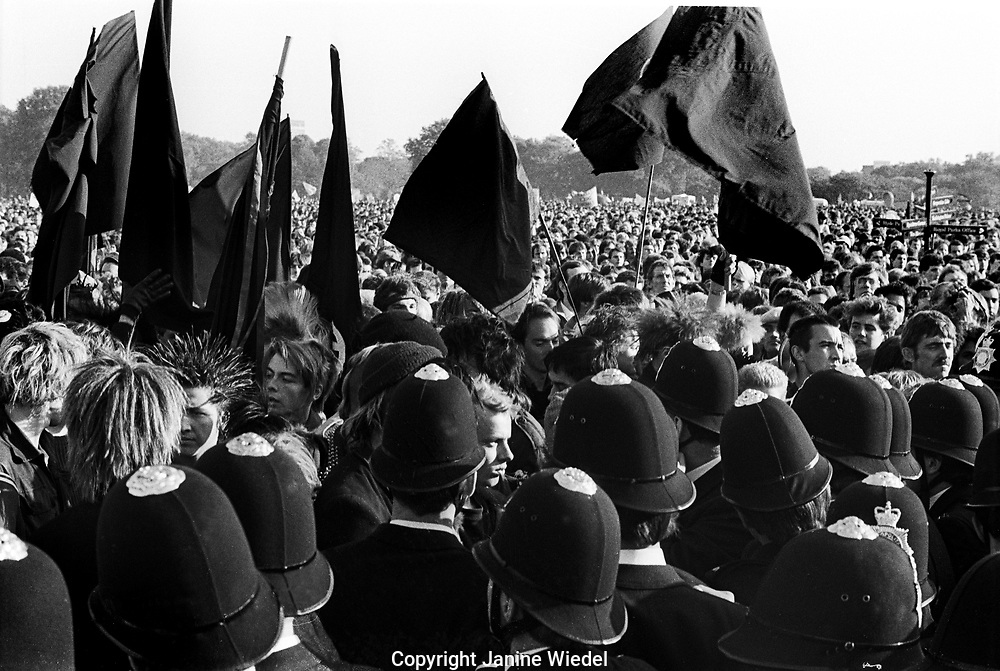 Anarchists at Hyde Park CND march/rally against Cruise missiles, Cenral London in October 1984