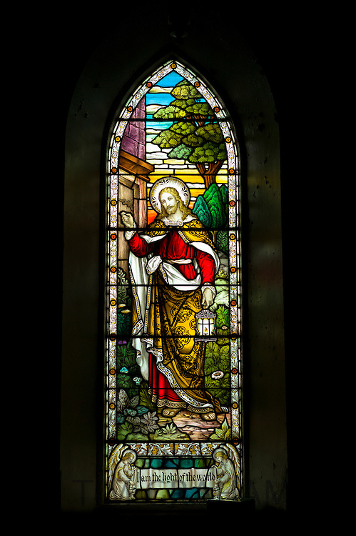 Stained glass window depicting Jesus Christ in Church of Scotland christian kirk at  Kingairloch in the Western Highlands of Scotland