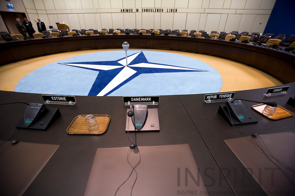 BRUSSELS - BELGIUM - 06 MARCH 2009 --  The NATO Headquarters North Atlantic Treaty Organisation meeting room seen from the seat where the Secretary-Genral is sitting and actin as chairman/president during ministerial meetings.  Photo: Erik Luntang