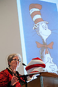 Marcia Cham gives a presentation on the meaning behind life and works of Dr. Suess during the Women in Philanthropy conference on Thursday, March 14th in Baker Ballroom. of Photo by: Ross Brinkerhoff.