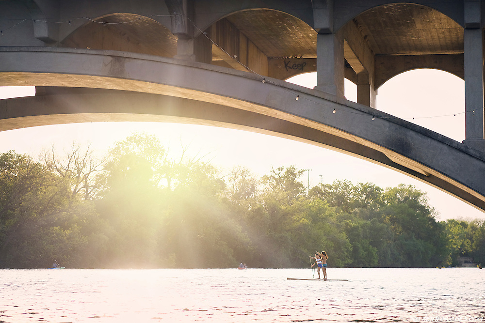 Stand up paddle boarding in Austin, Texas.