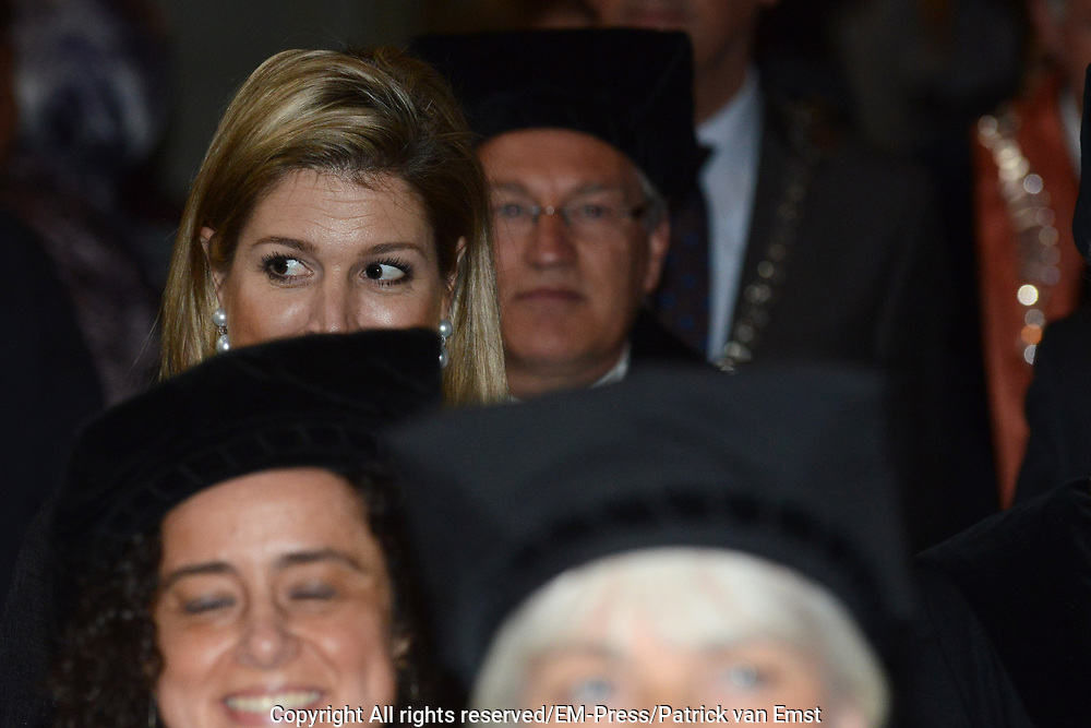 Koningin Maxima is aanwezig bij de oratie van de Prins Claus Chair van de Turkse professor Aylin Kuntay in het Academiegebouw van de Universiteit Utrecht. <br /> <br /> Queen Maxima is present at the inaugural lecture of the Prince Claus Chair of the Turkish Aylin Kuntay professor in the Academy Building of the University of Utrecht.<br /> <br /> Op de foto / On the Photo:  Koningin Maxima bij de oratie / Queen Maxima at the inaugural lecture
