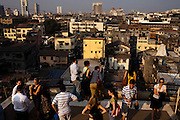The skyline of Mumbai is seen from a roof top in Nariman house, South Bombay, India. Photo by Suzanne Lee