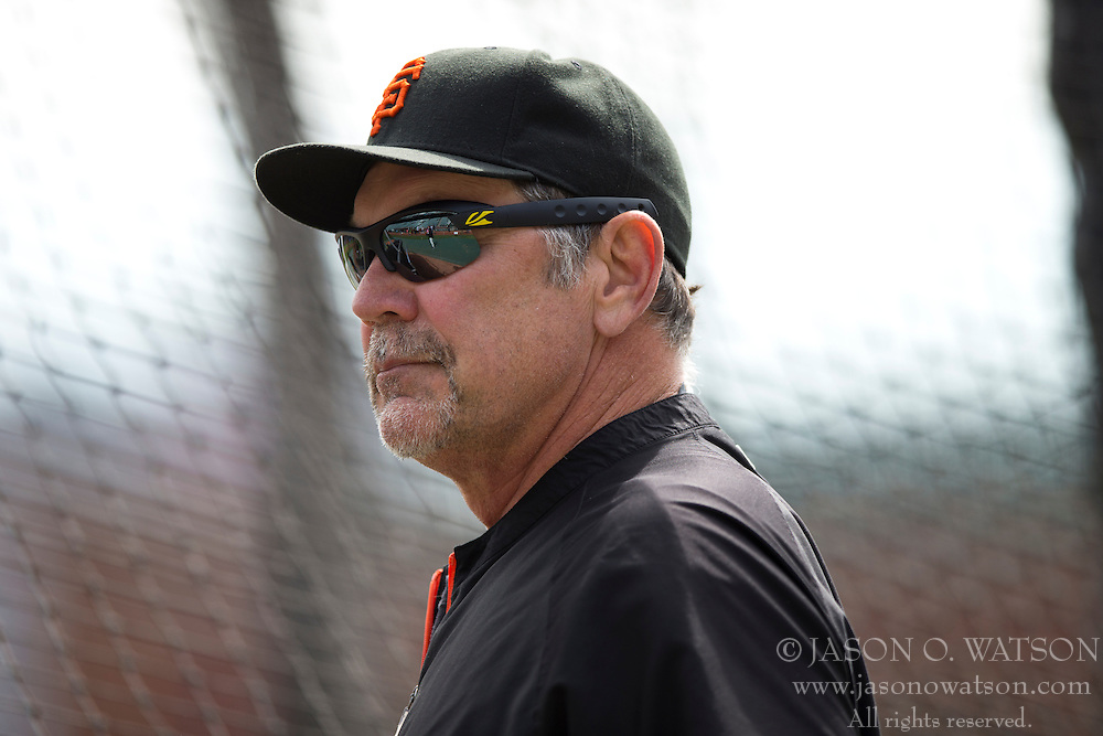 SAN FRANCISCO, CA - APRIL 26:  Bruce Bochy #15 of the San Francisco Giants looks on during batting practice before the game against the Cleveland Indians at AT&T Park on April 26, 2014 in San Francisco, California. The San Francisco Giants defeated the Cleveland Indians 5-3.  (Photo by Jason O. Watson/Getty Images) *** Local Caption *** Bruce Bochy