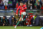Portugal forward Cristiano Ronaldo (7) takes the free kick during the UEFA Nations League match between Portugal and Netherlands at Estadio do Dragao, Porto, Portugal on 9 June 2019.