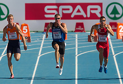Ingmar Vos of Netherlands, Andres Raja of Estonia and Mihail Dudas of Serbia compete in heat 1 during the men's decathlon 100m at the 2010 European Athletics Championships at the Olympic Stadium in Barcelona on July 28, 2010. (Photo by Vid Ponikvar / Sportida)