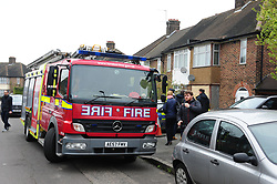 © Licensed to London News Pictures.11/04/2018<br /> HITHER GREEN, UK.<br /> LONDON FIRE BRIGADE ARRIVE AT 3pm to install two smoke detectors. Fire Fighters from  LEE GREEN.<br />  Hither Green Burglary Murder. South Park Crescent,Hither Green.<br />  Home of 78 year old Richard Osborn-Brooks who stabbed a burglar to death in his home.<br /> Photo credit: Grant Falvey/LNP
