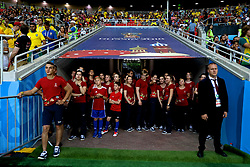 MOSCOW, RUSSIA - Wednesday, June 27, 2018: Volunteers wait before the FIFA World Cup Russia 2018 Group E match between Serbia and Brazil at the Spartak Stadium. (Pic by David Rawcliffe/Propaganda)