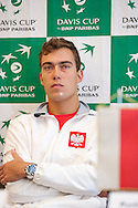 Jerzy Janowicz of Poland while press conference three days before the BNP Paribas Davis Cup 2013 between Poland and Australia at Torwar Hall in Warsaw on September 10, 2013.<br /> <br /> Poland, Warsaw, September 10, 2013<br /> <br /> Picture also available in RAW (NEF) or TIFF format on special request.<br /> <br /> For editorial use only. Any commercial or promotional use requires permission.<br /> <br /> Photo by © Adam Nurkiewicz / Mediasport