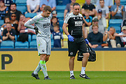 New Millwall goalkeeper Frank Fielding (1) goes off injured in his debut Championship game for Millwall, during the EFL Sky Bet Championship match between Millwall and Preston North End at The Den, London, England on 3 August 2019.