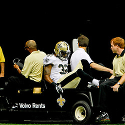 September 9, 2012; New Orleans, LA, USA; New Orleans Saints cornerback Johnny Patrick (32) is carted off the field during the first half of a game against the Washington Redskins at the Mercedes-Benz Superdome. Mandatory Credit: Derick E. Hingle-US PRESSWIRE