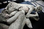 19 May 2017, Pompei, Naples Italy - Two bodies wrapped in a embrace in their final moments of the ancient city of Pompeii. Extensive anthropological tests of the duo's bones and teeth have revealed that they were male. The inhabitants of the ancient Pompeii died for asphyxiation cause of the burning clouds (nubi ardenti).