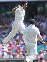 © Licensed to London News Pictures. 05/01/2014. Mitchell Johnson jumps in celebration after getting a wicket  during day 3 of the 5th Ashes Test Match between Australia Vs England at the SCG on 5 January, 2013 in Melbourne, Australia. Photo credit : Asanka Brendon Ratnayake/LNP