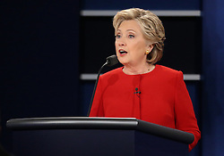 HEMPSTEAD, Sept. 27, 2016 (Xinhua) -- Democrat Hillary Clinton speaks during the first presidential debate with Republican Donald Trump at Hofstra University in Hempstead of New York, the United States, Sept. 26, 2016. Hillary Clinton and Donald Trump on Monday held their first presidential debate in Hempstead. (Xinhua/Qin Lang) (zw) (Credit Image: © Qin Lang/Xinhua via ZUMA Wire)