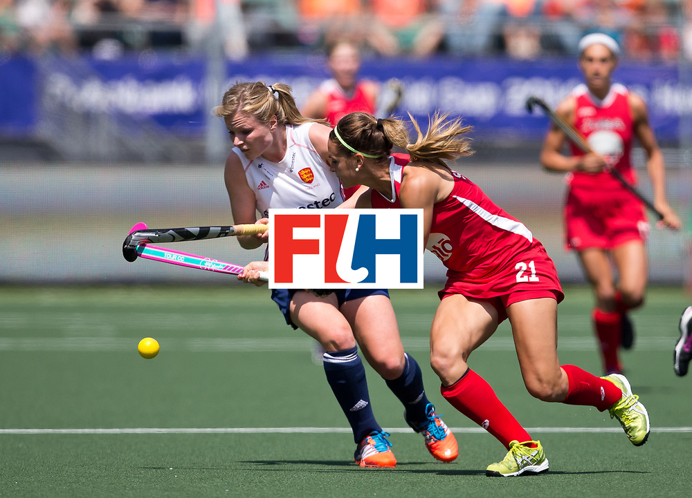 Hockey World Cup 2014<br /> The Hague, Netherlands <br /> Day 2 Women England v USA<br /> Paige Selenski of the USA (R) and <br /> Photo: Grant Treeby<br /> www.treebyimages.com.au