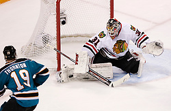 May 18, 2010; San Jose, CA, USA; Chicago Blackhawks goaltender Antti Niemi (31) makes a save against the San Jose Sharks during the first period of game two of the western conference finals of the 2010 Stanley Cup Playoffs at HP Pavilion.  The Blackhawks defeated the Sharks 4-2. Mandatory Credit: Jason O. Watson / US PRESSWIRE