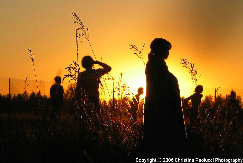 The sun sets on the Winnipeg Folk Festival in July, 9th, 2006, (Christina Paolucci, photographer)