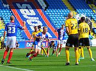 Kyle Dempsey of Carlisle United (centre) celebrates scoring his team's second goal during the Sky Bet League 2 match at Brunton Park, Carlisle<br /> Picture by Greg Kwasnik/Focus Images Ltd +44 7902 021456<br /> 06/09/2014