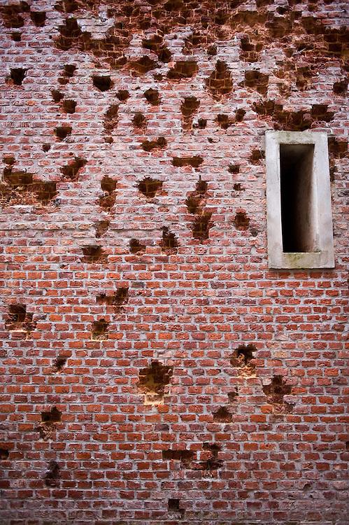 A shelled wall of Péronne Château that houses the Museum of the Great War (Historial de la Grande Guerre) in Péronne, France