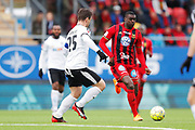 OSTERSUND, SWEDEN - APRIL 21: Nordin Gerzic of Orebro SK and Ken Sema of Ostersunds FK during the Allsvenskan match between Ostersunds FK and Orebro SK at Jamtkraft Arena on April 21, 2018 in Ostersund, Sweden. Photo by Nils Petter Nilsson/Ombrello ***BETALBILD***