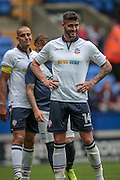 Gary Madine (Bolton Wanderers) waits for a corner to come in during the Pre-Season Friendly match between Bolton Wanderers and Preston North End at the Macron Stadium, Bolton, England on 30 July 2016. Photo by Mark P Doherty.