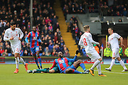 Yannick Bolasie (10) of Crystal Palace injured during the Barclays Premier League match between Crystal Palace and Liverpool at Selhurst Park, London, England on 6 March 2016. Photo by Phil Duncan.