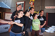 Candidate for New Mexico Lt-Governor Joseph Campos of Santa Rosa poses for a group picture with family and supporters following a motorcycle Benefit Ride  for UNM Children's Hospital from Albuquerque to Madrid New Mexico on May 16th 2010.