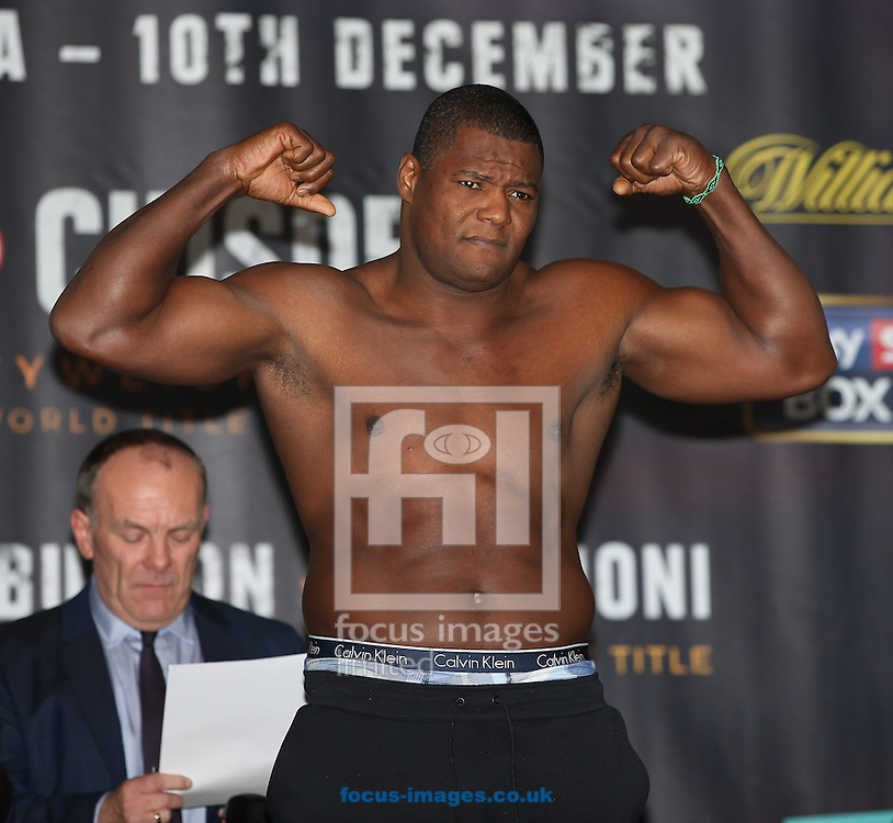 Luis Ortiz during the weigh in for the Joshua v Molina IBF Heavyweight title fight at Victoria Warehouse, Manchester<br /> Picture by James Wilson/Focus Images Ltd 07709 548263<br /> 09/12/2016