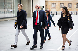 © Licensed to London News Pictures. 23/04/2017. London, UK. Seumus Milne (Strategy & communications director for Jeremy Corbyn), Leader of the Labour Party Jeremy Corbyn, Laura Alvarez, and guest arriving at BBC Broadcasting House to appear on The Andrew Marr Show this morning. Photo credit : Tom Nicholson/LNP