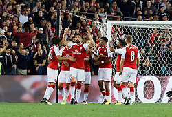 July 15, 2017 - Sydney, New South Wales, Australia - Arsenal player, Olivier Giroud celebrates scoring the first goal of the night.FA Cup Champions Arsenal wins 3-1 over Western Sydney Wanderers FC at ANZ Stadium. (Credit Image: © United Images/Pacific Press via ZUMA Wire)