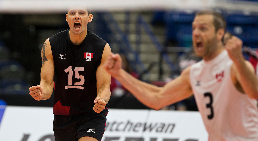 Canada plays China at a World League Volleyball match at the Sasktel Centre in Saskatoon, Saskatchewan Canada on June 25, 2016.